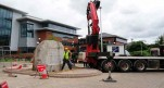Heavy boulder being installed at Lincoln college